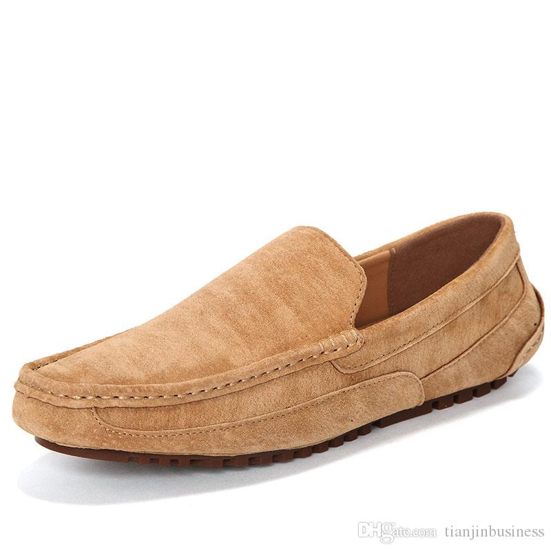 Men Cow Suede Driving Loafers Moccasins Soft Light Flats Comfortable Slip On Boat Footwear