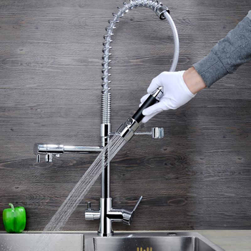 2018 Jmkws Spring Kitchen Faucet Modern Design Kitchen Faucets Brass Chrome  Sink Vessel Tap 3 Holes Water Taps Outlet Pull Down Mixer From Crape, ...