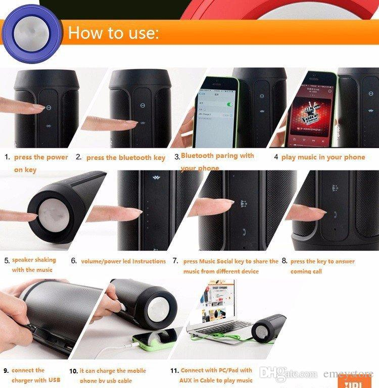 New Original Charge2+ IPX5 WaterProof Mini Portable Bluetooth speaker with power bank pk charge 2 pulse 2 CHR2+