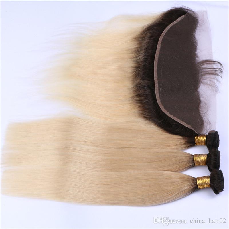 Recta # 1B / 613 Rubia Ombre virginal peruana del pelo humano teje con encaje frontal Ombre Rubio 13x4 El cierre frontal cordón lleno con 3Bundles