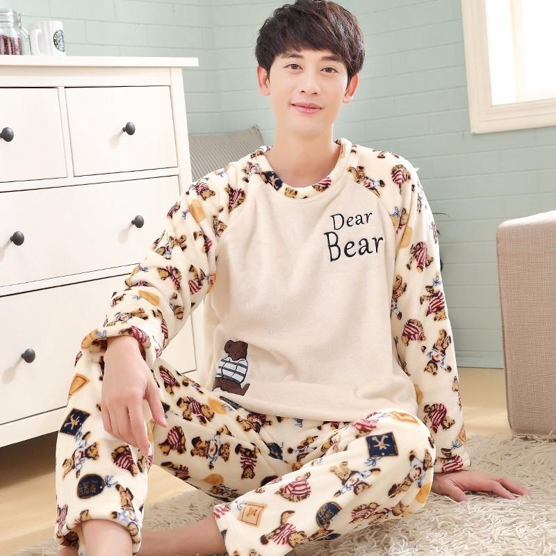 New Winter Pajama Sets For men Thick Warm Flannel Pajamas Cartoon Panda Animal Pyjamas O-Neck Long Pants Sleepwear Pijama Autumn
