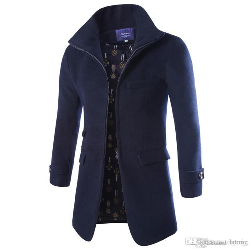 8001276e2f71 Großhandel Großhandel Europäischen Stil Neue Mode 2015 Winter  Reißverschluss Lange Männer Mantel Marke Hochwertigen Mantel Solide Schlank  Lange Herren ...