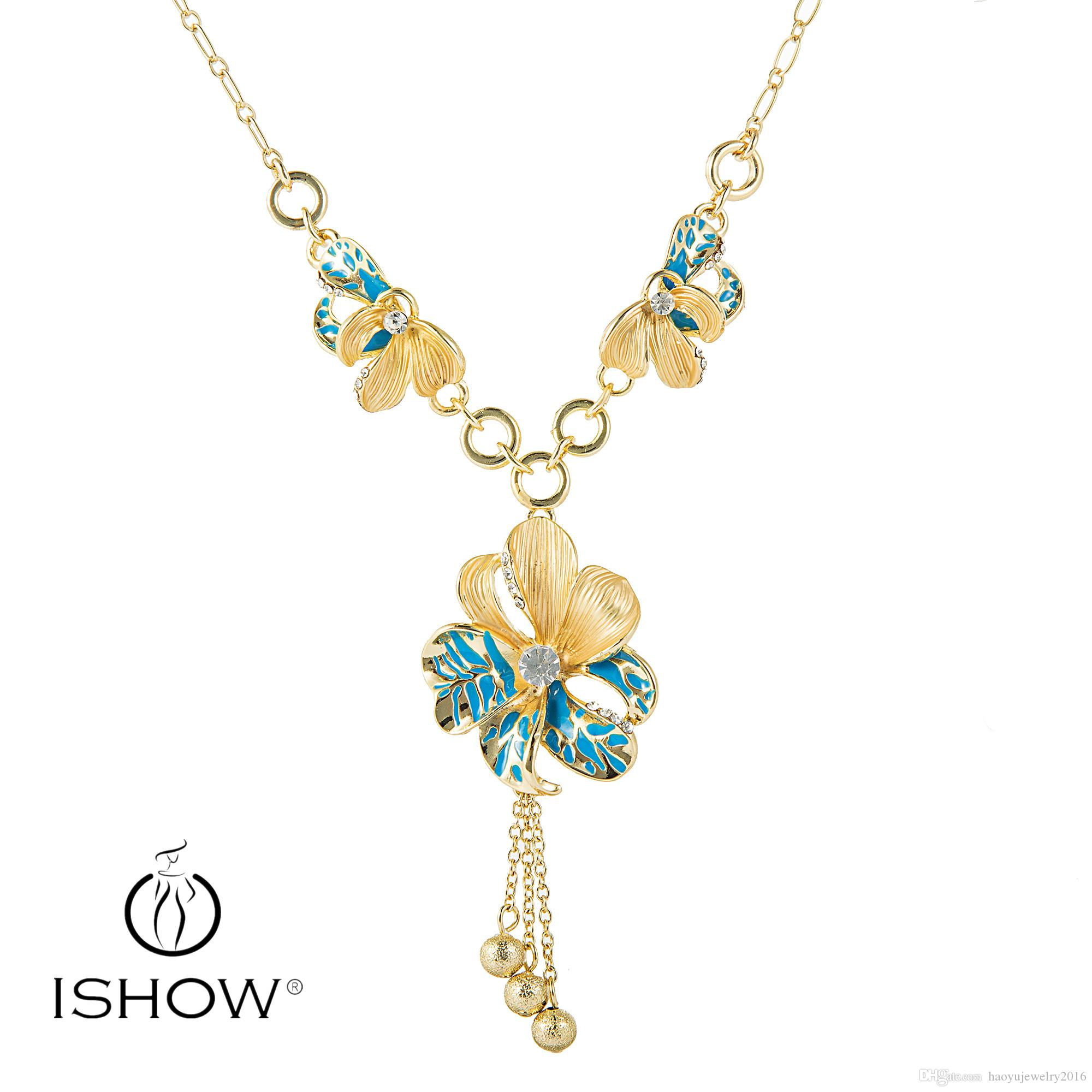 Crystal Flower Pendant 18k Gold Plated Necklace For Flower Girls
