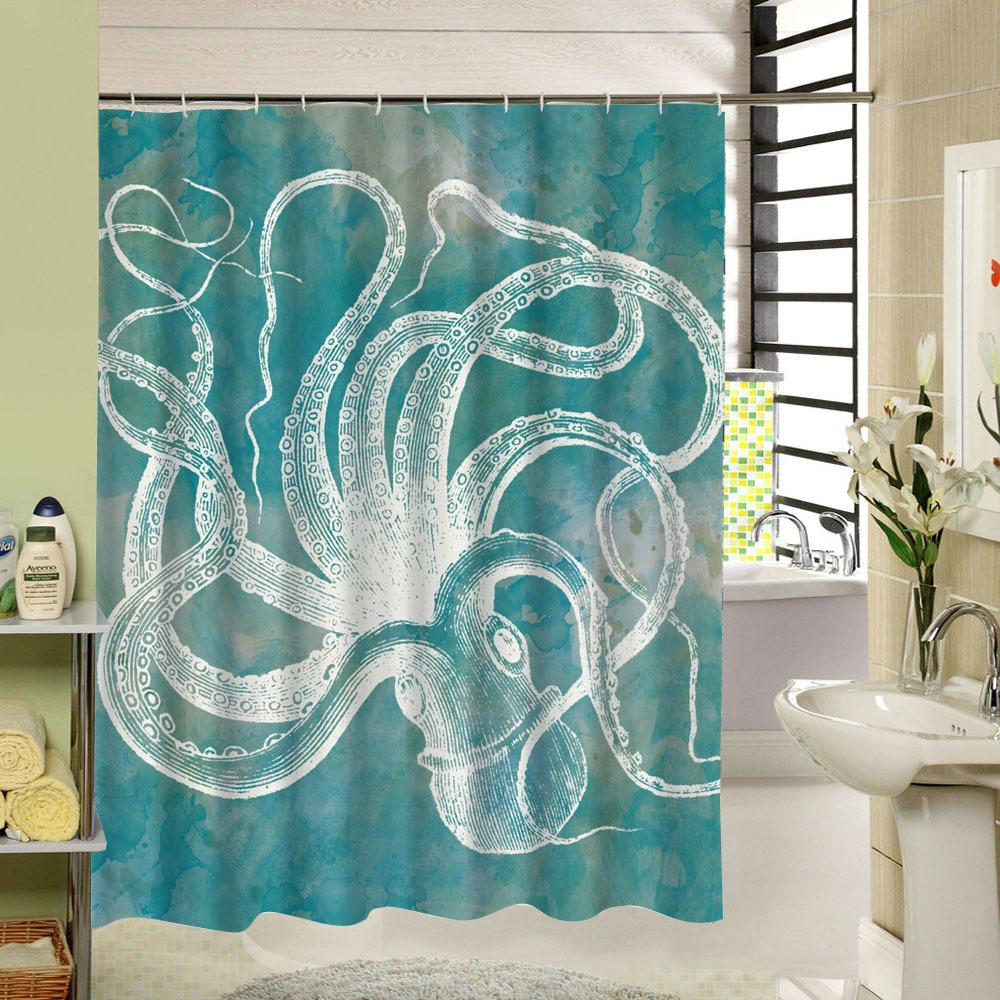2019 Sea Animal Shower Curtain Octupus Design 3d Print Fabric Waterproof Bathroom Washable For Kids Bath Gift 180cm Long Dorp From Caley