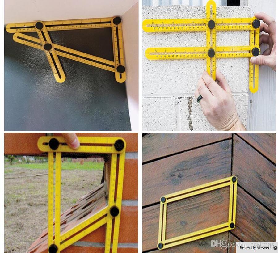 Maßband-Holzbearbeitungswerkzeug für professionelles Lineal-Set Vierseitiges Messwerkzeug Winkelsucher Winkelmesser Lineal mit mehreren Winkeln