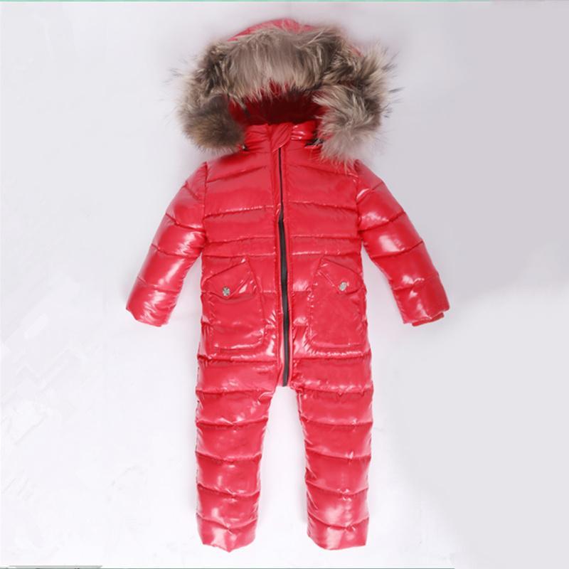 a445f7af5 Compre 30 Invierno Traje De Nieve Bebé 80% Pato Abajo Mameluco Infantil De  Abrigo Al Aire Libre Ropa Chicas En General Para Niños Niños Mono 2 ~ 6Y ...