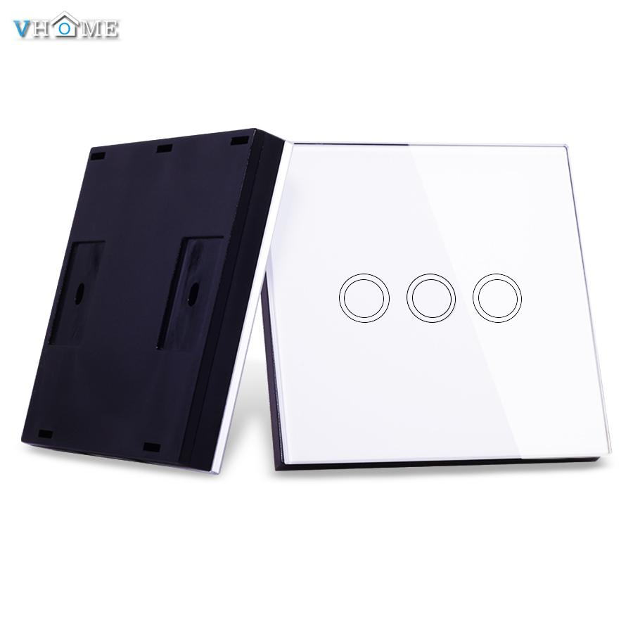 Wholesale-VHOME Smart Home RF 433MHz 3Gang Wireless Switch Shape Remote Control for Touch Wall Lightes Electric Curtains,Home Automation