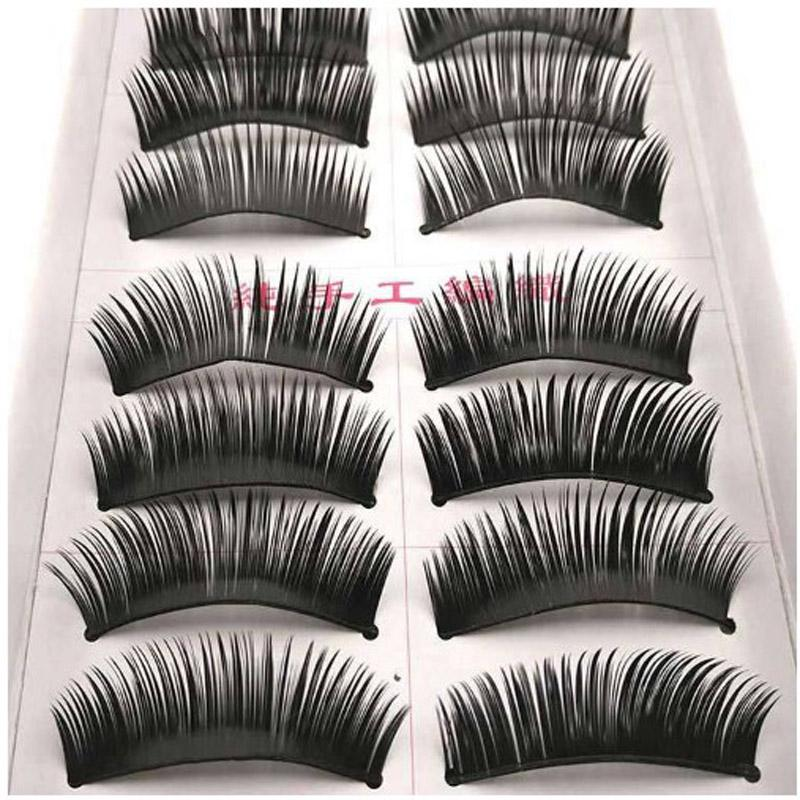 Thick False Eyelashes Handmade Black Dense Cross Exaggerated Eye Lashes Fashion Ball Smoke Makeup Fake Eyelashes /box
