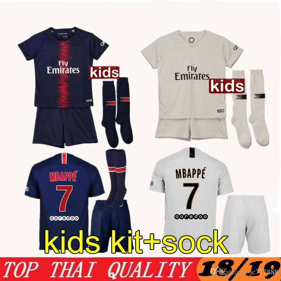 366c591c353 2019 Kids MBAPPE CAVANI DI MARIA VERRATTI Shirt Home Blue Away 18 19 Soccer  Jerseys Custom Football Uniforms Thai Quality Paris Kids Set + Socks From  ...