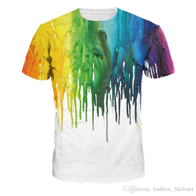 b320fcd2f06621 Graffiti Men T Shirt Splash Ink Hip Hop Tops Summer Short Sleeve T Shirt  Fashion O Neck Rainbow Style T Shirts Fitness Tshirts Dirty T Shirts  Graphic Tee ...