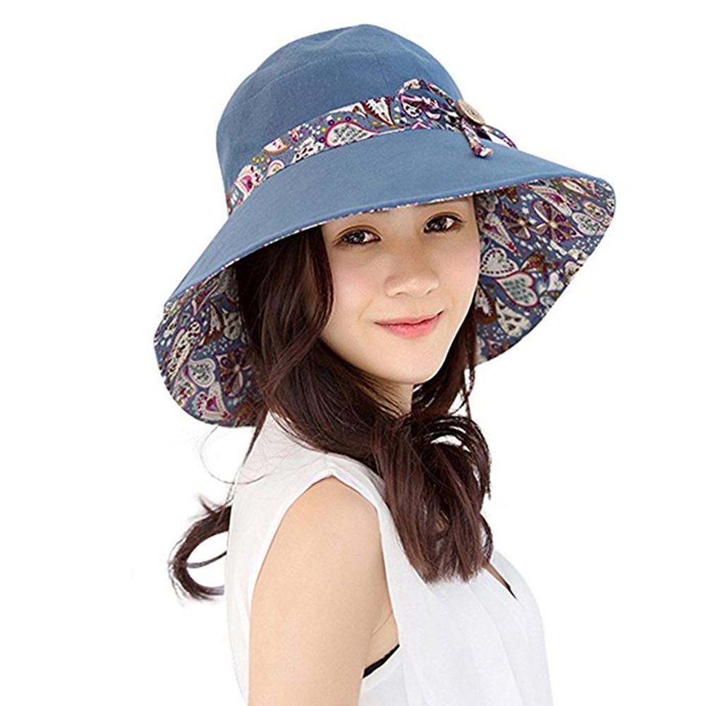 New Women Summer Beach Travel Bowknot Wide Brim Sun Hat Reversible Foldable  Cap Cowboy Hats Pork Pie Hat From Hermane 66981d61a024