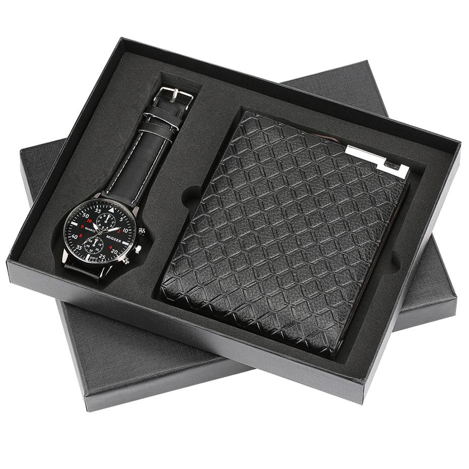 Top Brand Luxury Mens Watch Quartz Wristwatches Wallet Gift Set For