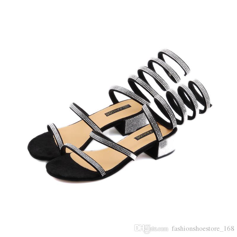 652cd14a6cf1c Summer Shoes Woman Rhinestone Crystal Gladiator High Heels Sandals Women  Open Toe Ankle Strappy Womens Silver Black Block Heel Sandals 2018 Wedges  Shoes ...