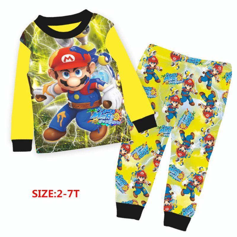 be0e0adaebb1 Wholesale Boys Yellow Super Mario Pajamas Sets 2018 Kids Cartoon ...