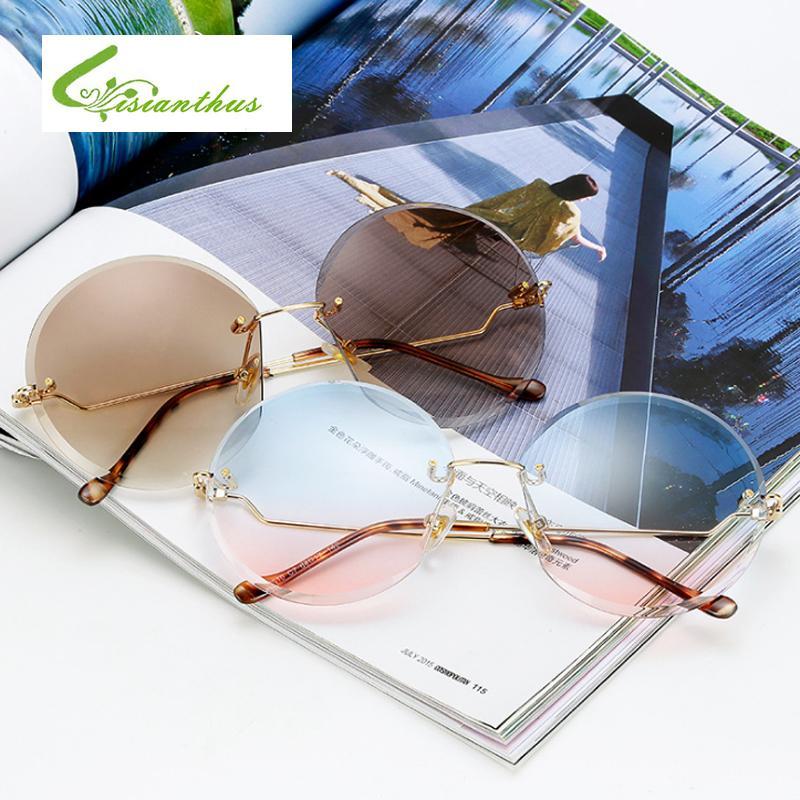 cdbd8085e6adc Compre Luxo Sem Aro Oversized Óculos De Sol Das Mulheres Designer De Marca  Redonda Do Vintage Feminino Óculos De Sol Para As Mulheres Shades Gafas De  Sol De ...