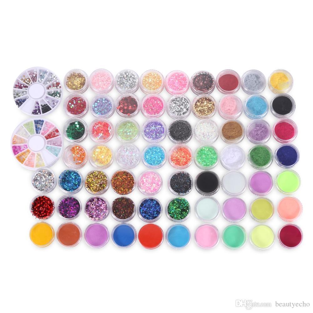 Manucure Set DIY Nail Buffer Acrylique Paillettes Poudre Stylo pour Crystal Effect Sparkle Nail Décoration Outil Kit pour Nail Art Salon
