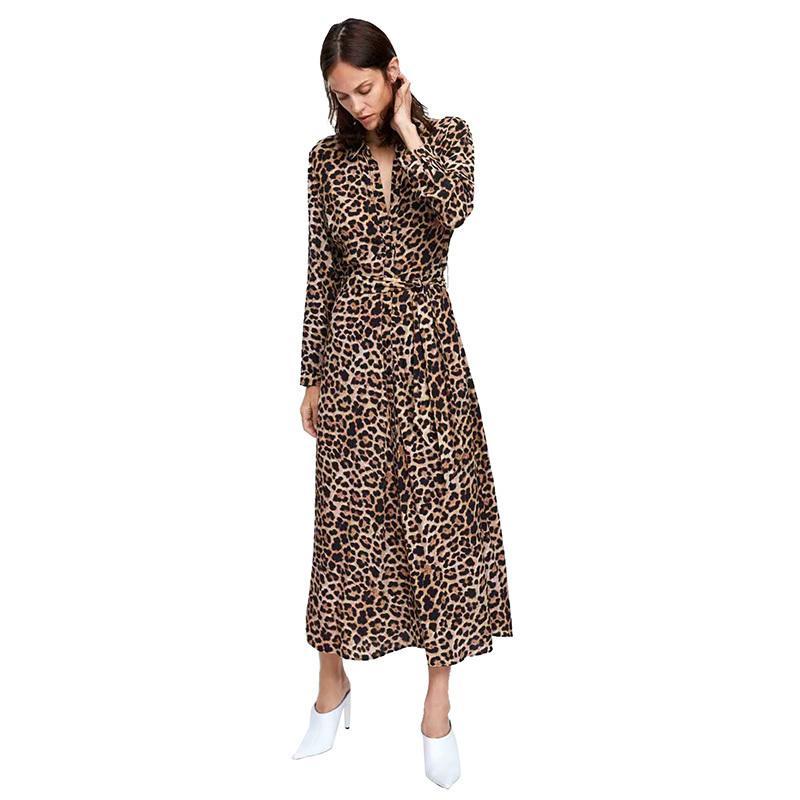 Attachée Mousseline Imprimer Casual Longue Rabattu Robe Cardigan Soie Vestidos Femmes Col Taille En Chemise Mode Léopard De sChrxtQd