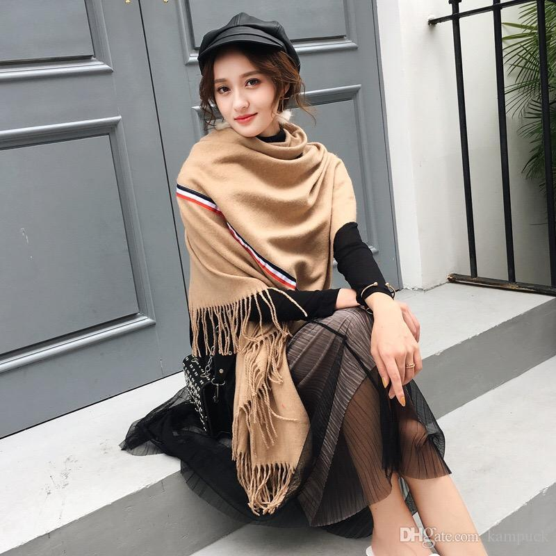 Mingjiebihuo New fashion Autumn and winter solid color thick stripes big collar wild ladies shawl free shopping