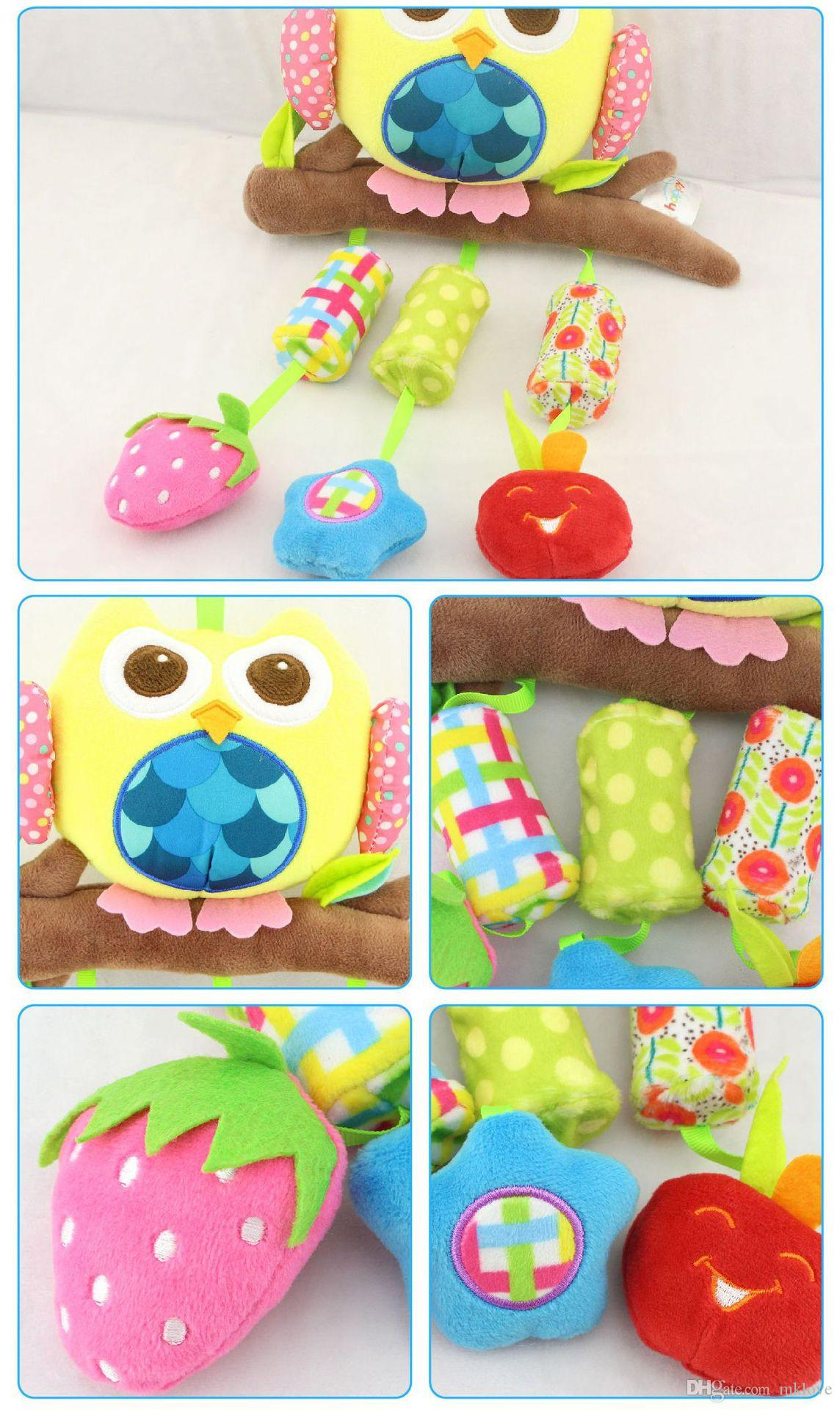 Nuevo bebé 40 cm felpa búho torno reloj de pared cuna de juguete 3 Wind Chime búho elefante pescado felpa juguete