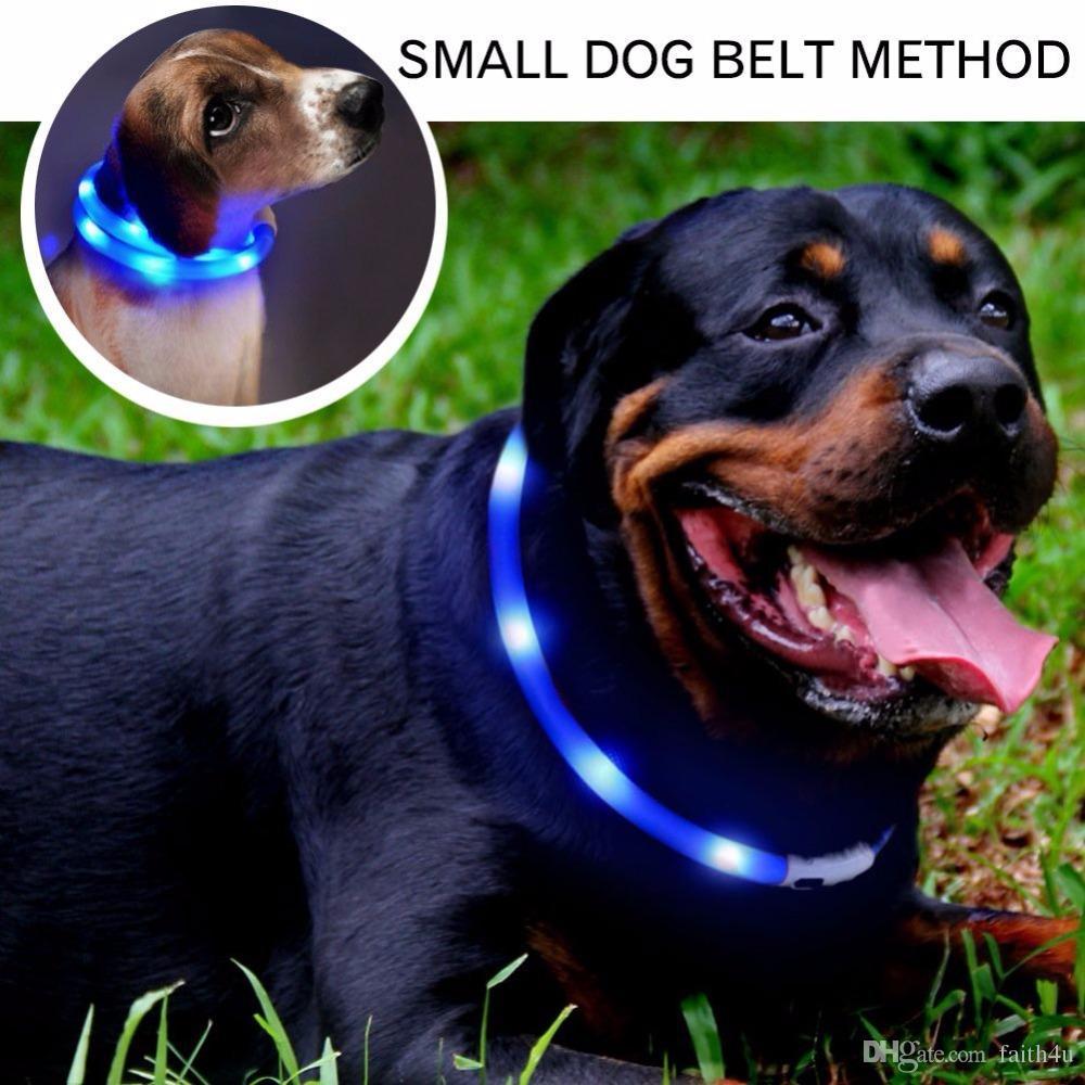 Dog Training Collar LED Outdoor Luminous Cut USB Charge Pet Dog Collars Light Adjustable LED Flashing Dog Collar