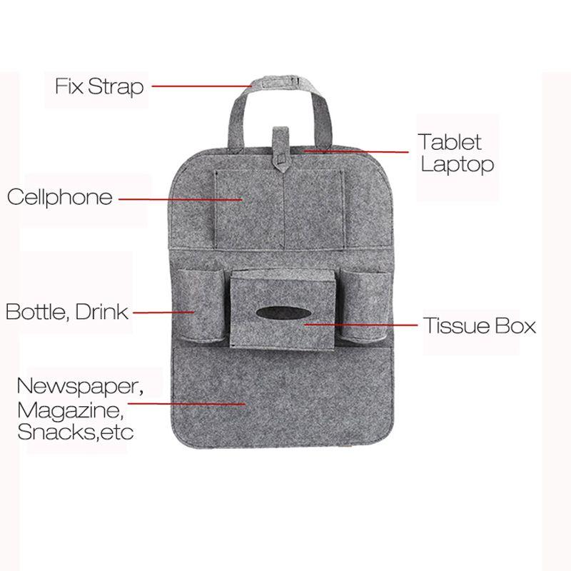 Seggiolino auto posteriore Sacchetto di immagazzinaggio multi-tasca Portaoggetti Organizzatore Accessorio gancio di sospensione multi-tasca Backseat Organizzare i