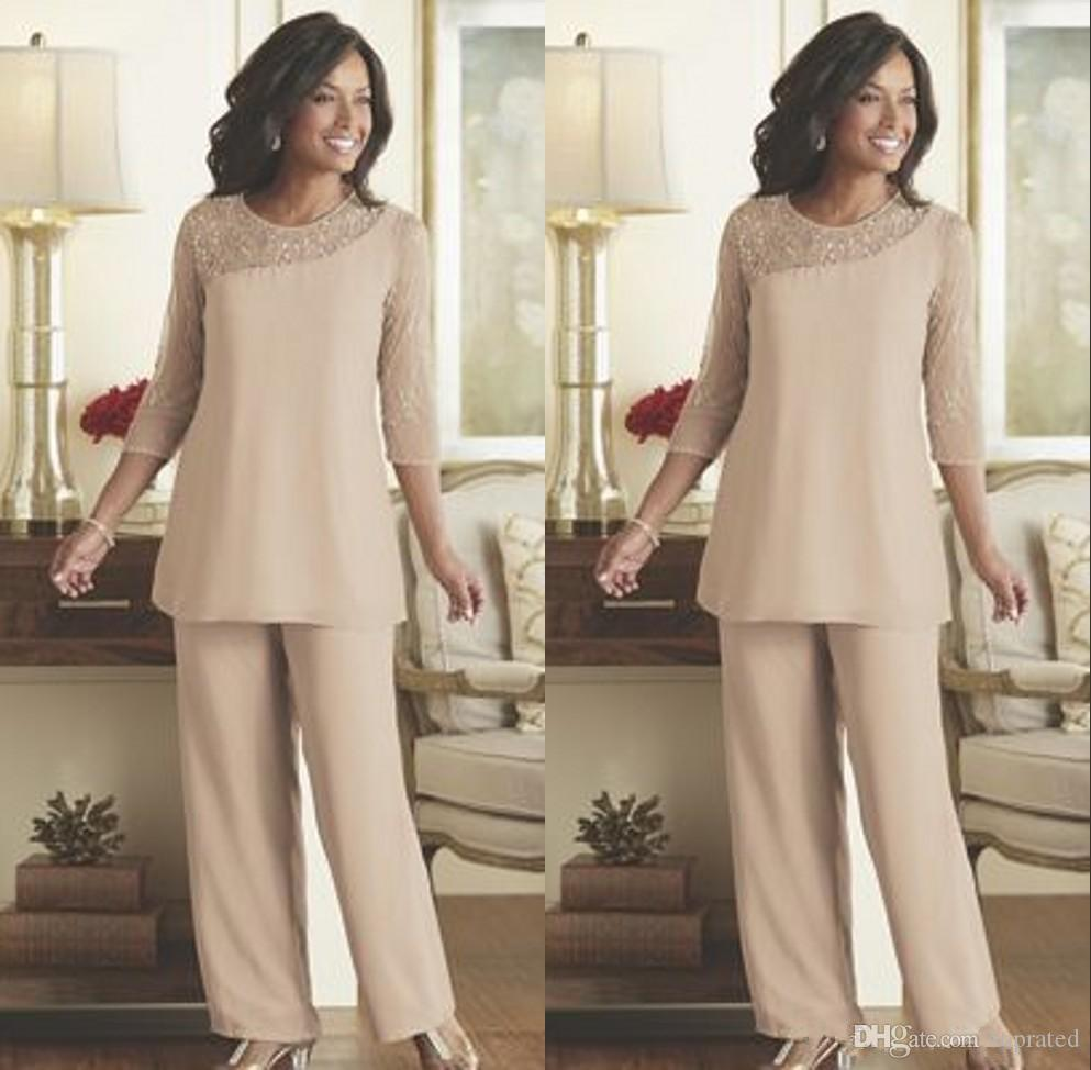 375cded6547 Mother Of The Bride Groom Pant Suits 2018 Summer Spring Chiffon Custom Made Long  Sleeves Plus Size Wedding Guest Wear Mother Dress Joan Joan Rivers Joan ...