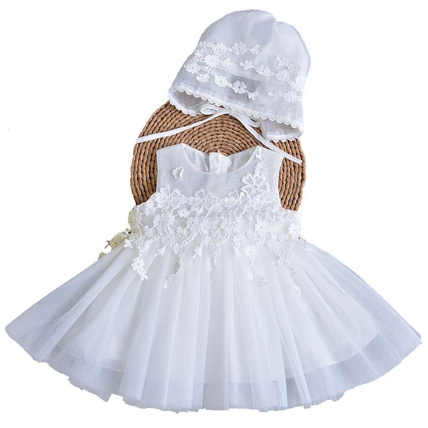Compre Vestido De Bautizo Recién Nacido Vestido Para Niña Con Gorro De 1er.  Trajes De Cumpleaños. Pétalos De Moda Tulle Niño De Bautismo Infantil. 74390062ce2a