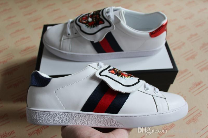 701767ef9fa4 Fashion Man Women Blue Red Blue Stripe With Ace Sneaker With Removable  Patches Top Quality Genuine Leather Designer Shoes White Size 35 46 Mens  Loafers Buy ...