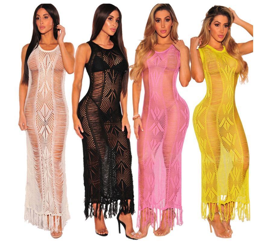 2018 Summer Hand Hook Knitting Shirt Dress Sexy Hollow Out Tassel Bikini Smock Dress Handwork Knitting Holiday Beach Dress New products