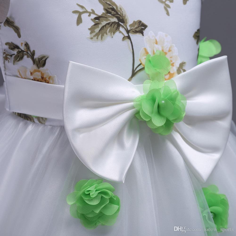 New Summer Girls 3D Flower Net Garza Dress Princess Birthday Party Tu tu Abiti ragazza del bambino battesimo Ball Gown