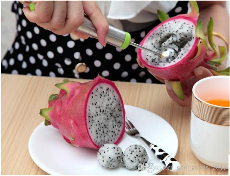Digger double headed scoop dug fruit ball scoop Knife spoon pomelo melon spoon to do fruit salad kitchen bakeware Pastry Tools c389