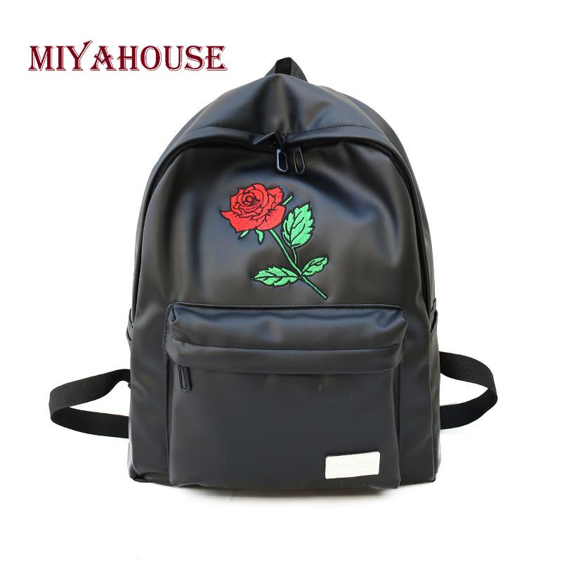 c0e575f679 Miyahouse Solid Color Backpack For Female Floral Embroidery Fashion Rucksack  Lady Large Capacity PU Leather Rucksack For Women Book Bags Herschel  Backpacks ...