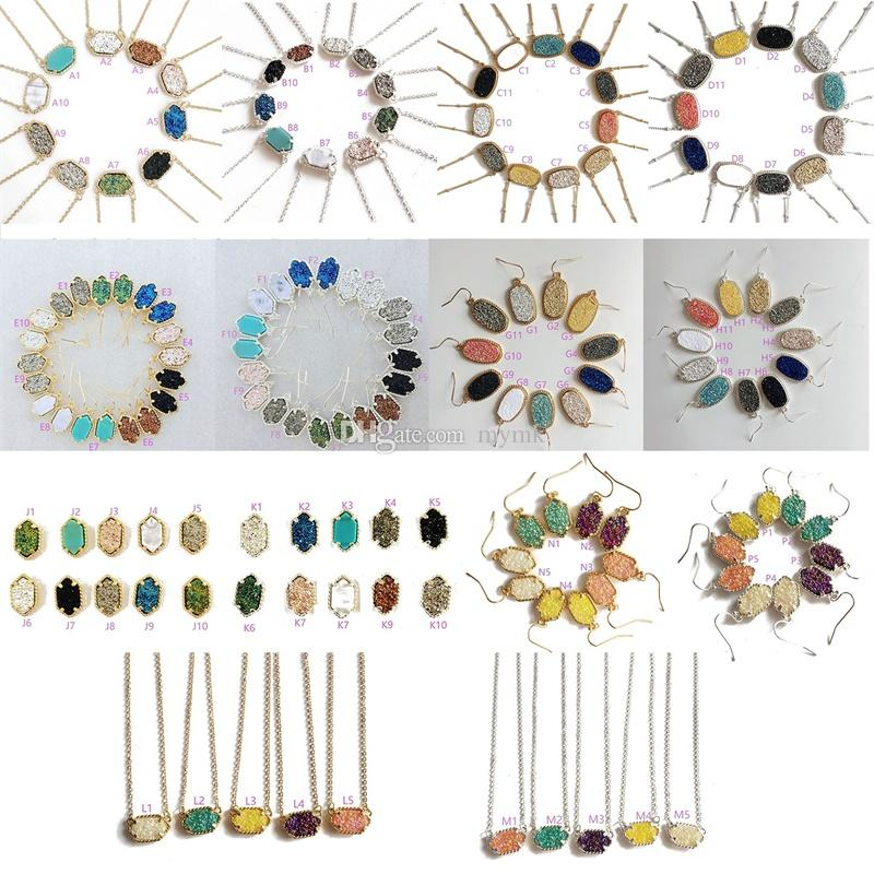 MICHAEL KENDRA Marke Drusy Halskette Druzy Ohrringe Silber vergoldet Harz Geometrie Hexagon Kragen Party Hochzeit Schmuck für Frauen Mädchen