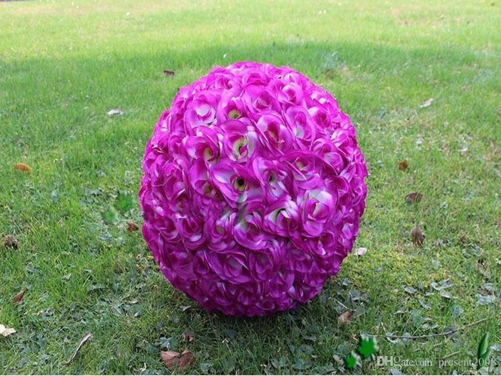 "30 CM 12"" New Artificial Encryption Rose Silk Flower Kissing Balls Hanging Ball Christmas Ornaments Wedding Party Decorations"