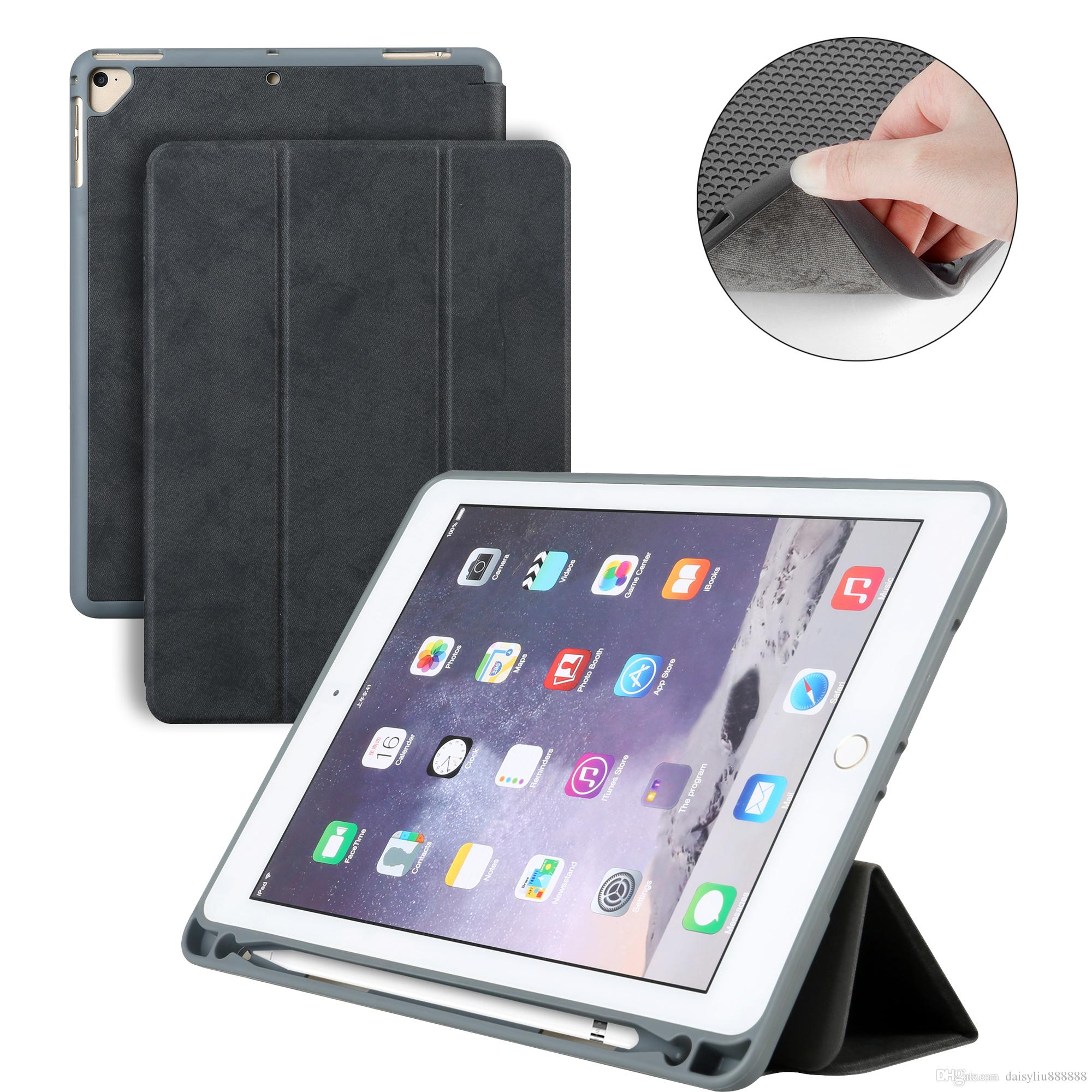 save off 18238 62920 Case with Pencil Holder For New iPad 9.7 2017 2018 A1893 A1954 , PU Leather  Smart Stand Cover For ipad case Auto Sleep Wake