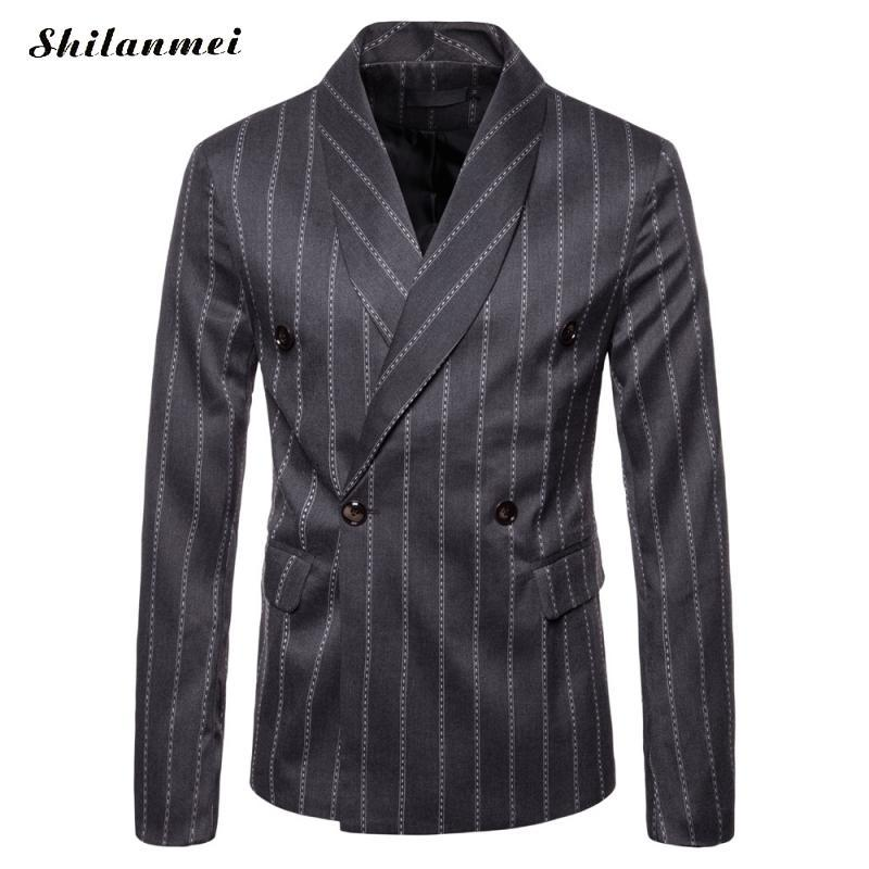 8d4fcad8c1 2019 Autumn Winter Suit Blazer British Double Breasted Stripes Business  Casual Suits Jackets Long Sleeve Slim Blazer Male Jacket Suit From Bairi