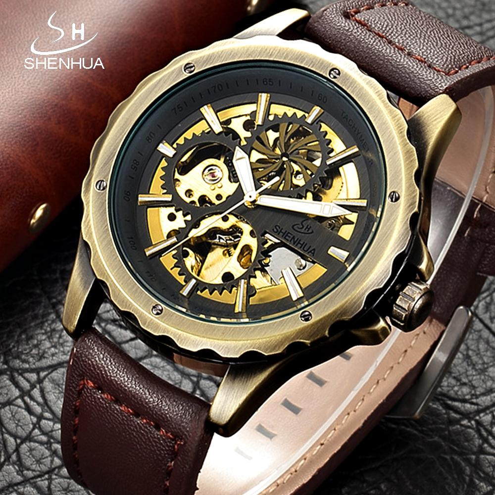 6359648213f0 Compre SHENHUA Retro Esqueleto Automático Reloj Mecánico Vintage Bronce  Plateado Steampunk Relojes De Pulsera Hombres Reloj De Cuero Transparente A   38.06 ...
