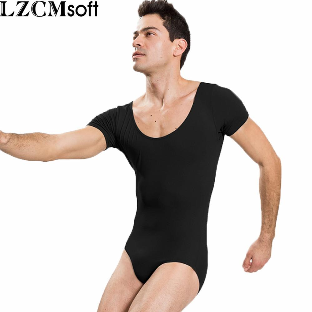 3d2eaa7bbe68 2019 LZCMsoft Mens Short Sleeve Leotard One Piece Bodysuits For Male ...