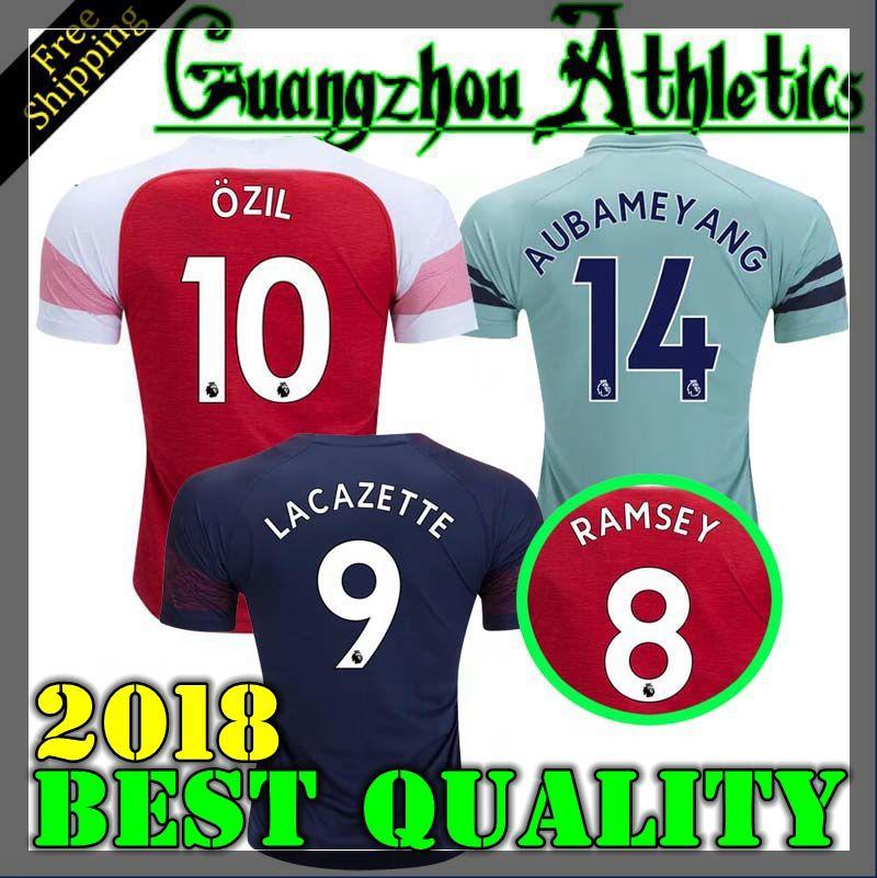 bf7a8a5f701 2018 Arsenal Gunners OZIL AUBAMEYANG Soccer Jersey 18 19 ALEXIS ...