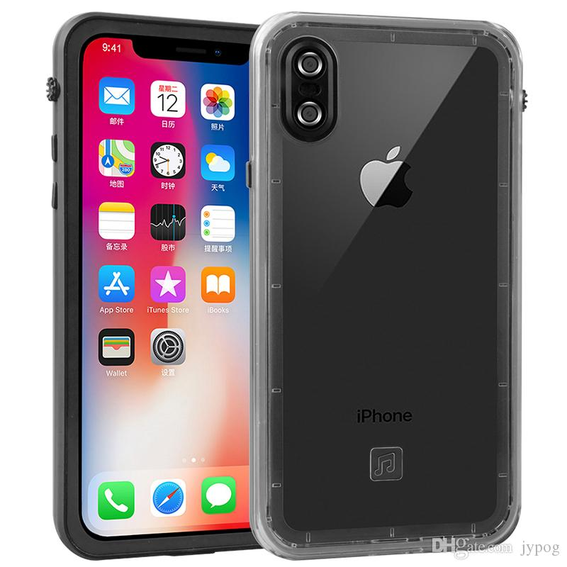 For iPhone XS XR Case Waterproof Defender Clear Case Under Water Full Sealed Cover Shockproof Snowproof Dirtproof Case with Screen Protector