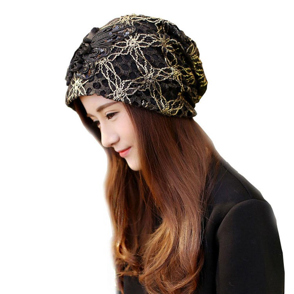 f5f33973471 2019 Turban Hats For Women Lace Knitted Cap Slouchy Beanie Skullies Caps  Fashion Flower Female Winter Stylish Beanies Hat From Qingfengxu