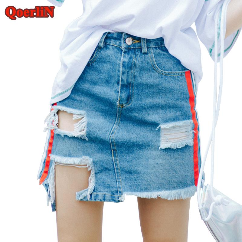 57a5640388ef 2019 QoerliN Plus Size Jeans Mini Skirts High Waist Holes Hollow Out Sexy  Side Striped Pocket Beach Denim Skirt Female 2018 Summer From Oott, ...
