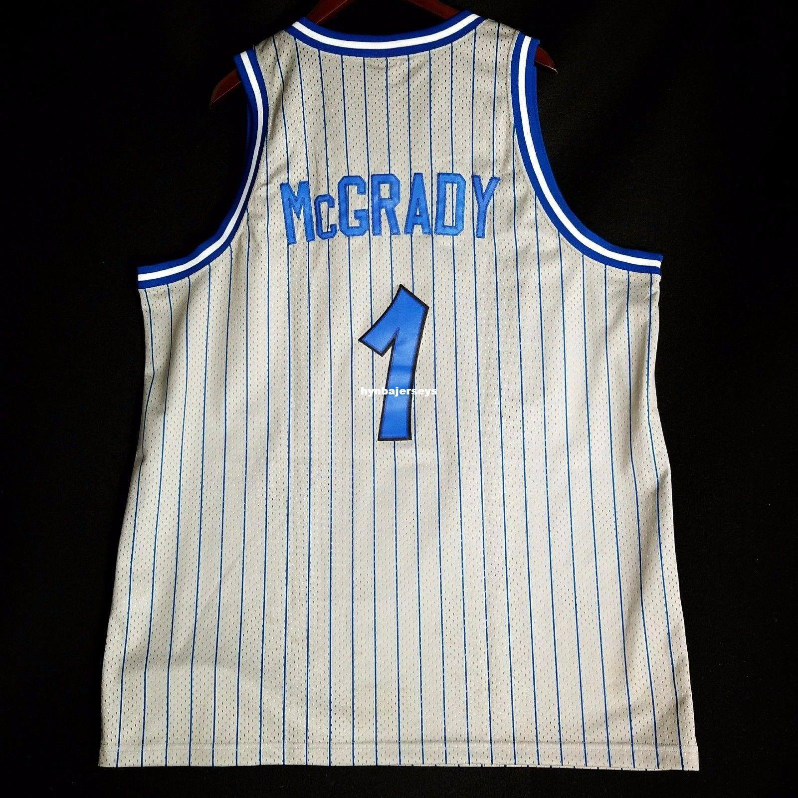 Throwbacks 100% Stitched Tracy Mcgrady  1 Sewn Jersey White Mens ... da8f798ab