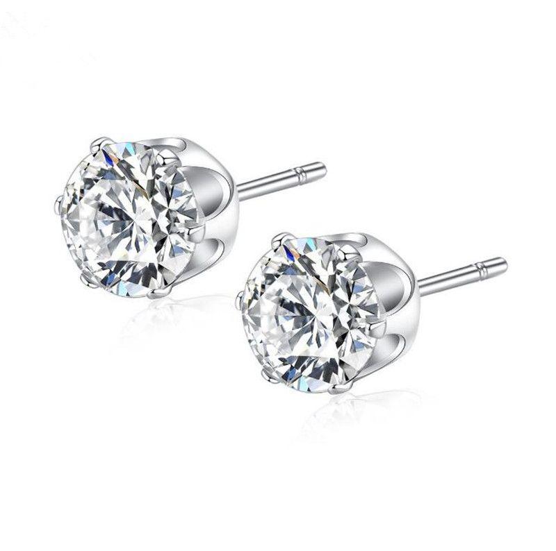3f01251aeb97 2019 Luxury 18k White Gold Stud Earrings Real Photo Fashion Korean Cz  Diamond Earrings For Women Shining Aaa Cubic Zirconia Stud Earring Jewelry  From ...