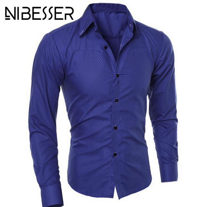 39f6b3a9a23f NIBESSER Plus Size 5XL Camisas Hombre Vestido Brand-clothing Algodón Slim  Fit Formal Camisas Hombre Manga Larga Soft Solid Men's