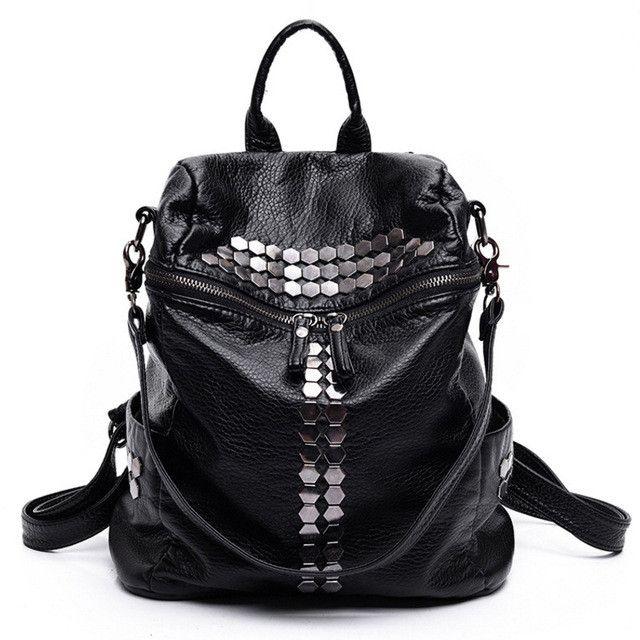 2018 Fashion Female Leisure Bag Mochilas Women Backpacks Rivet Black ... 8f97de3630