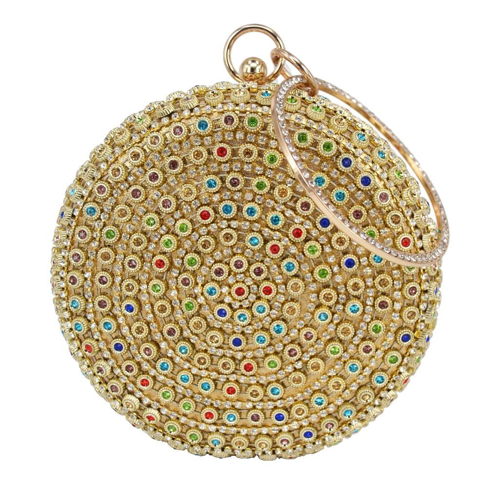 Designer Round Ball Evening Clutch Bag Gold Diamond Purse Handbag Women  Wedding Bridal Golden Crystal Diamond Chain Clutch Gold Clutch Branded Bags  From ...