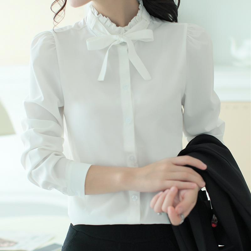 fcb7316cc47 2019 Elegant Womens Career White Shirts Blouses Plus Size Long Sleeve  Button Design Clothing 2018 Office Classic Lady Casual Blouses From  Beautyjewly
