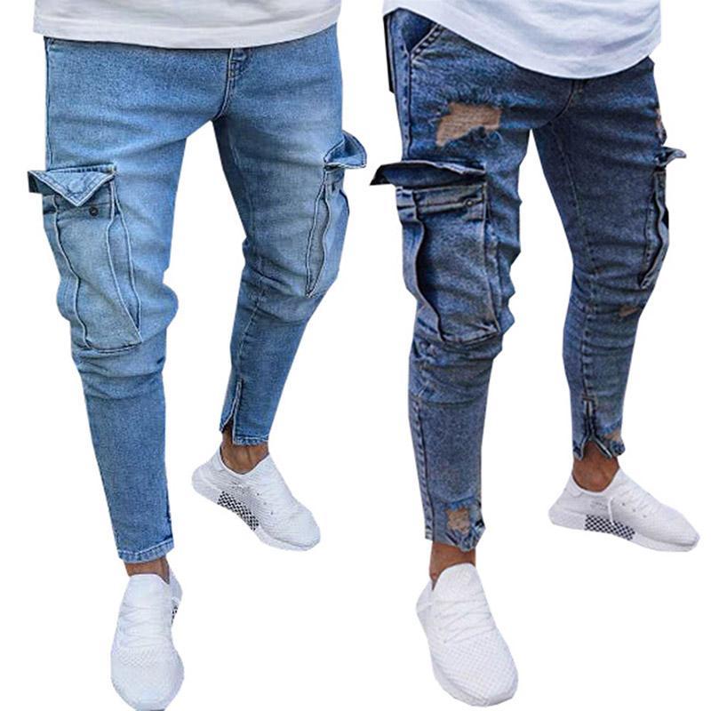 d589f16e364 Fashion 2018 Men s Jeans Trend Knee Hole Zipper Feet Trousers Men Knee  Ripped Big Hole Men Jeans Streetwear Pants