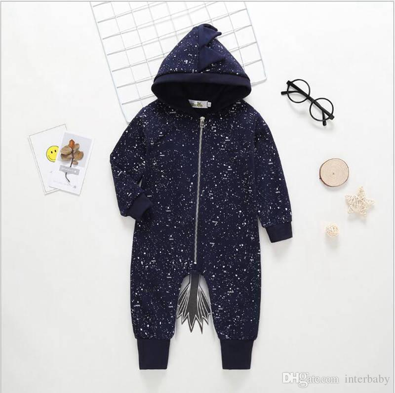 a5e0ab55d 2019 Baby Romper Boy INS Navy Blue Horse Hooded Jumpsuit Children ...